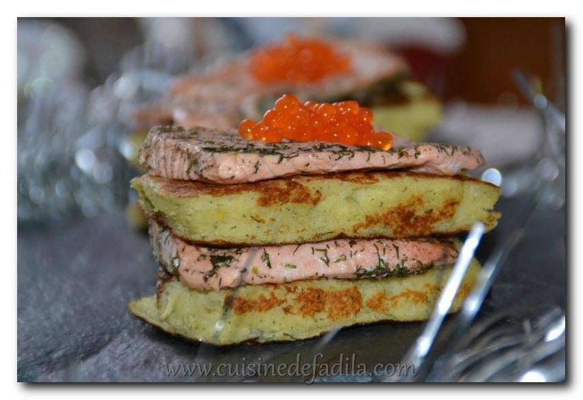 Galettes festives au saumon