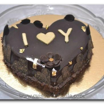 Royal au chocolat en forme de cœur