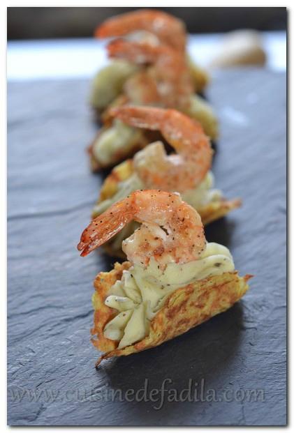 Bouchées de pommes de terre et crevettes