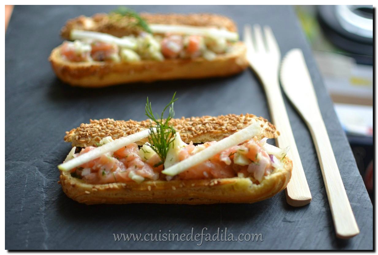 Éclair au tartare de saumon et pomme verte