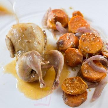 Caille à l'orange et patates douces rôties