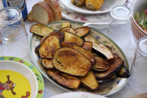 Recette aubergines frites la po le cuisine grecque - Aubergine a la poele ...