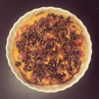 Tarte au potiron, champignons et jambon cru