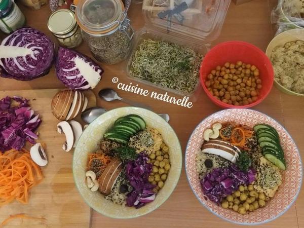Préparation buddha bowl végétarien assiettes colorées