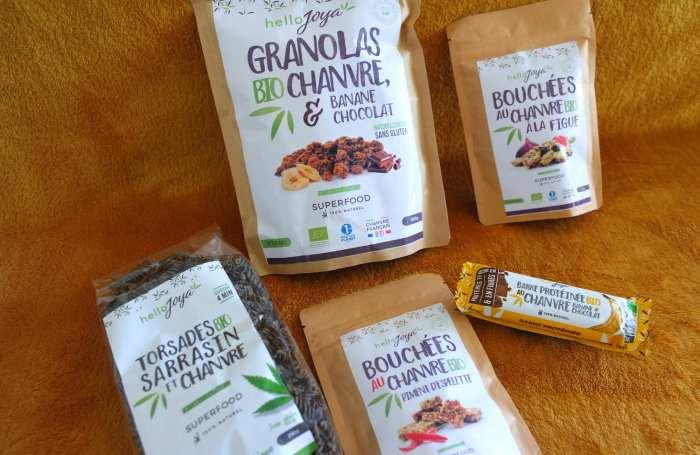 Hello Joya pâtes au chanvre granola sans gluten apéritif vegan