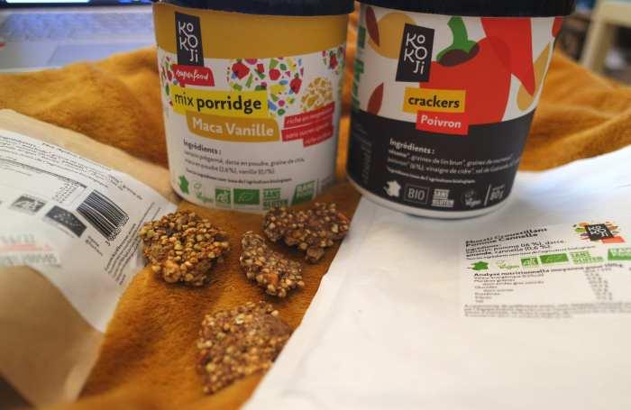 Kokoji marque vegan sans gluten crackers poivron