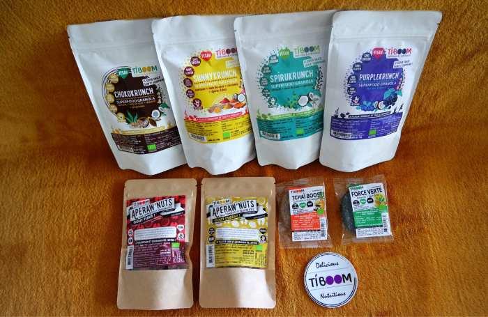 Tiboom gamme vegan sans gluten granola encas