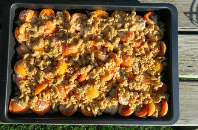 crumble aux abricots confits avant cuisson
