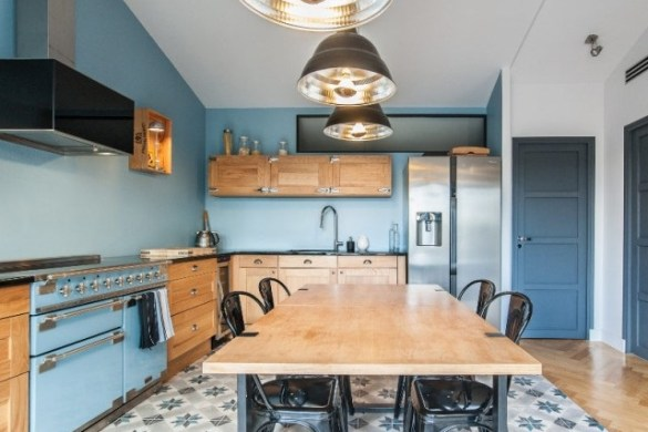 cuisine colorée bleu clair