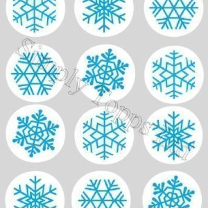 Dcoration-Gateau-Motif-Flocon-De-Neige-Noel-Bleu-Papier-De-Riz-Comestible-40mm-Lot-x12-0