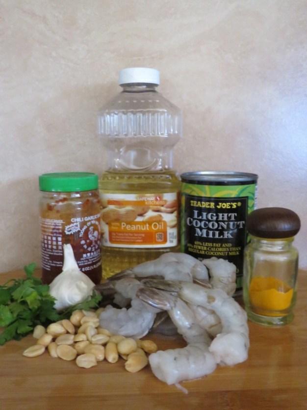 Shrimp with peanut-garlic sauce-ingredients
