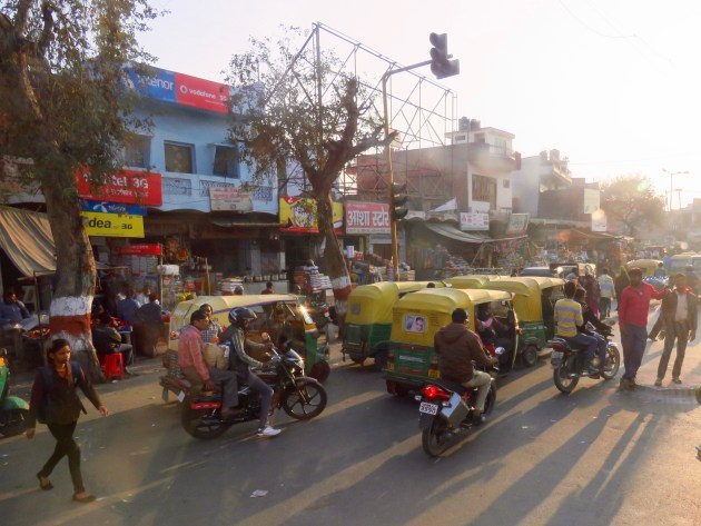 Agra, India Typical Street Traffic