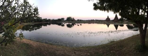 Bagan, Myanmar–Aureum Palace Lake Panorama
