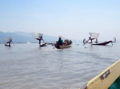 Myanmar–Inle Lake–Leg Rowers Showing Off