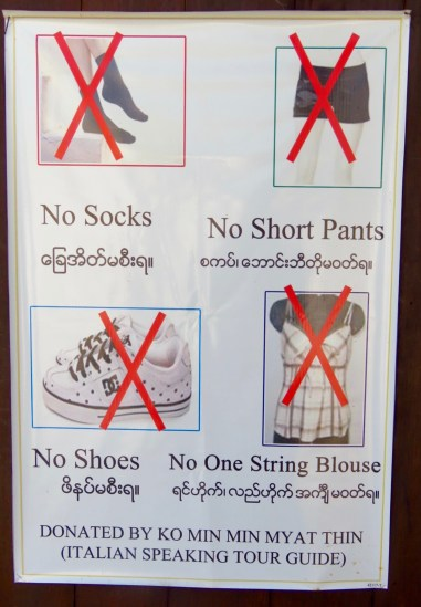 Myanmar–Sign at Nga Phe Chaung Monastery
