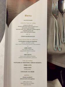Turkish Air dinner menu