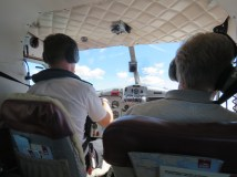 Don got to sit in the co-pilot's seat of the seaplane