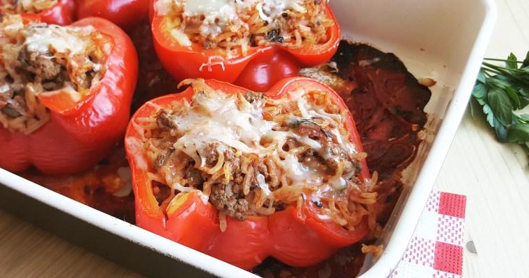 Poivrons farcis au bœuf, riz & tomate