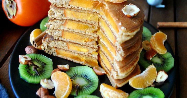 Pancakes aux épices fourrés au kaki