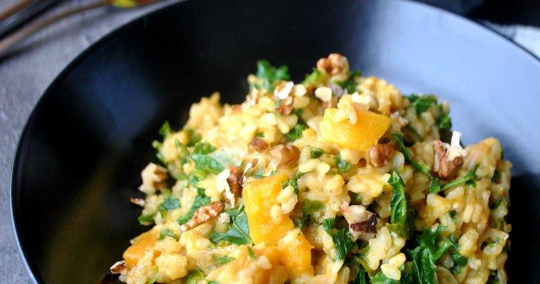 Risotto à la courge butternut et au chou kale