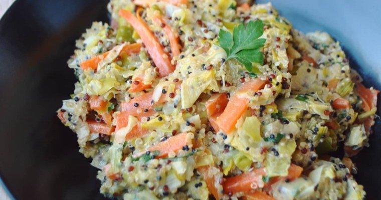 Quinotto (risotto de quinoa) au poireau, carotte et cancoillotte