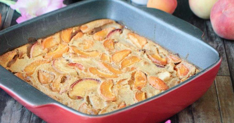 Clafoutis aux pêches, abricots et noisette