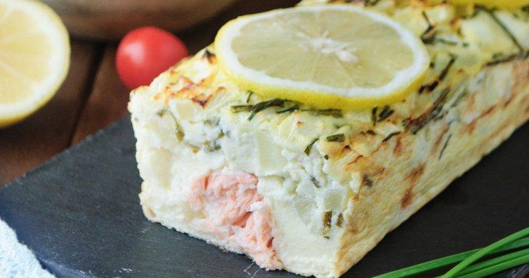 Terrine au saumon, courgette et chèvre frais