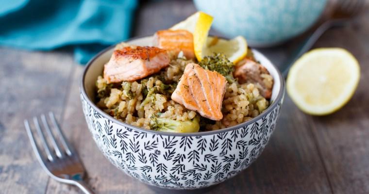 Risotto au brocolis et au saumon
