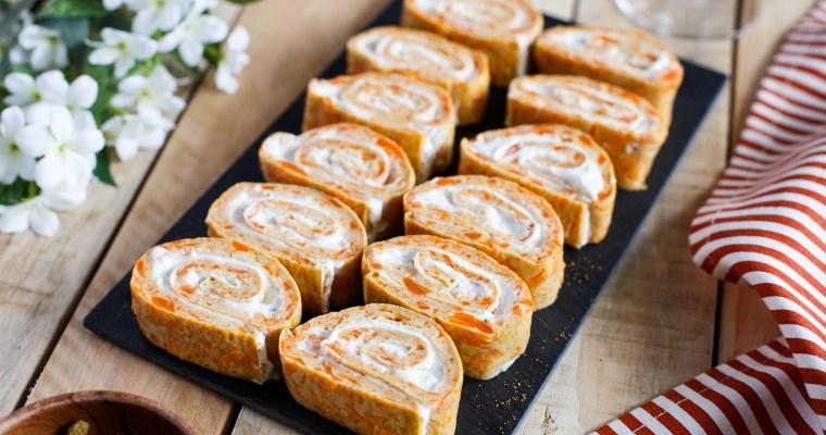 Roulé à la carotte, cumin & fromage frais