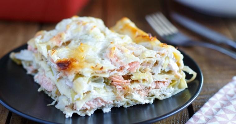 Lasagnes aux deux saumons, poireaux et ricotta