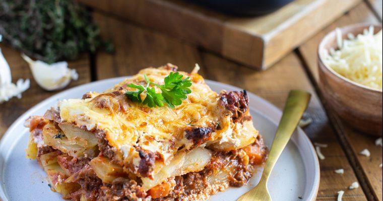 Gratin à la sauce bolognaise et aux pommes de terre