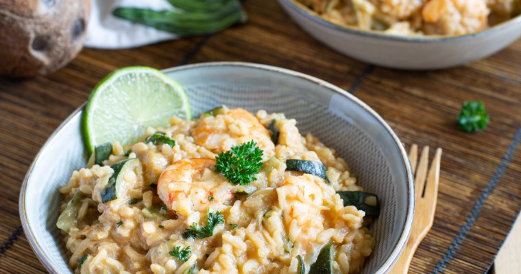 Risotto aux crevettes, courgettes et lait de coco
