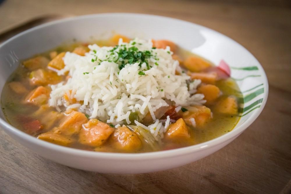 soupes de patates douces et riz basmati