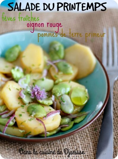 Salade printanière : fèves, oignon rouge et pommes de terre primeur {vegan}