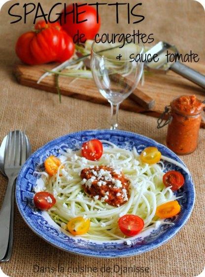 Spaghettis de courgette et sauce tomate sans cuisson (vegan gluten free)