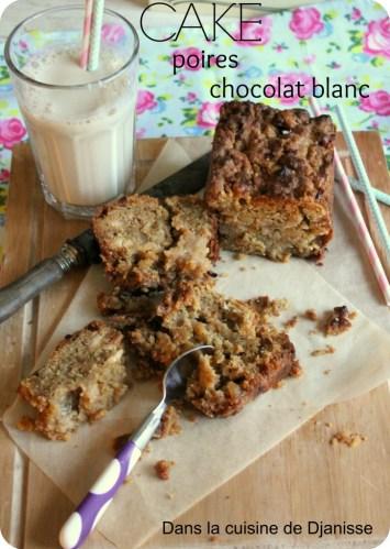 Cake poire chocolat blanc sans gluten