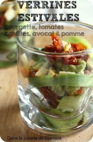 verrines à la courgette, avocat, pomme et tomate, épicées
