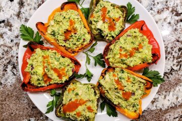Tuna avocado stuffed bell peppers