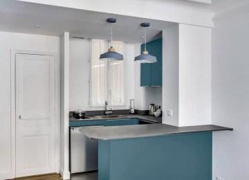Best Cuisine Ouverte Bleu Canard Contemporary - House Design ...