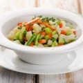 Boiled Vegetables in  white  bowl . Selective focus
