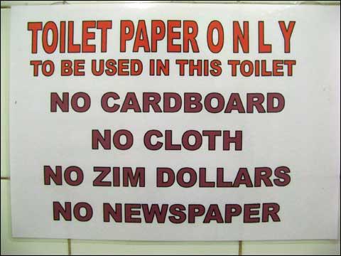 Non buttare dollari zimbabwesi nel gabinetto
