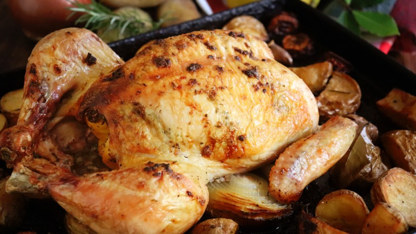 pollo al horno con papas facil entero atado