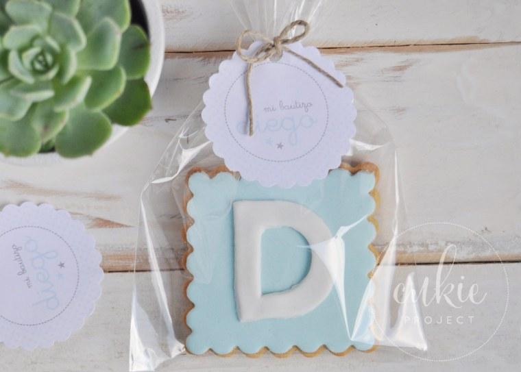 Galletas decoradas bautizos - Modelo Inicial Letra - Cukie Project