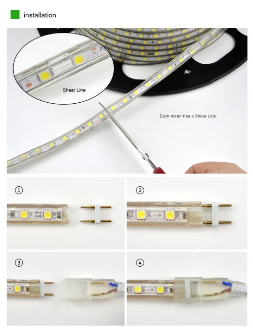 small resolution of  upgrad copper wire 220v smd 5050 led strip light 1m 18m ip65 waterproof led tape outdoor