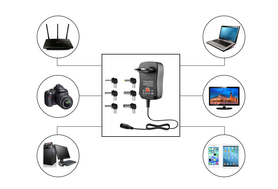 30W Universal EU Plug in switch Adapter 3v 4.5v 5v 6v 7.5v