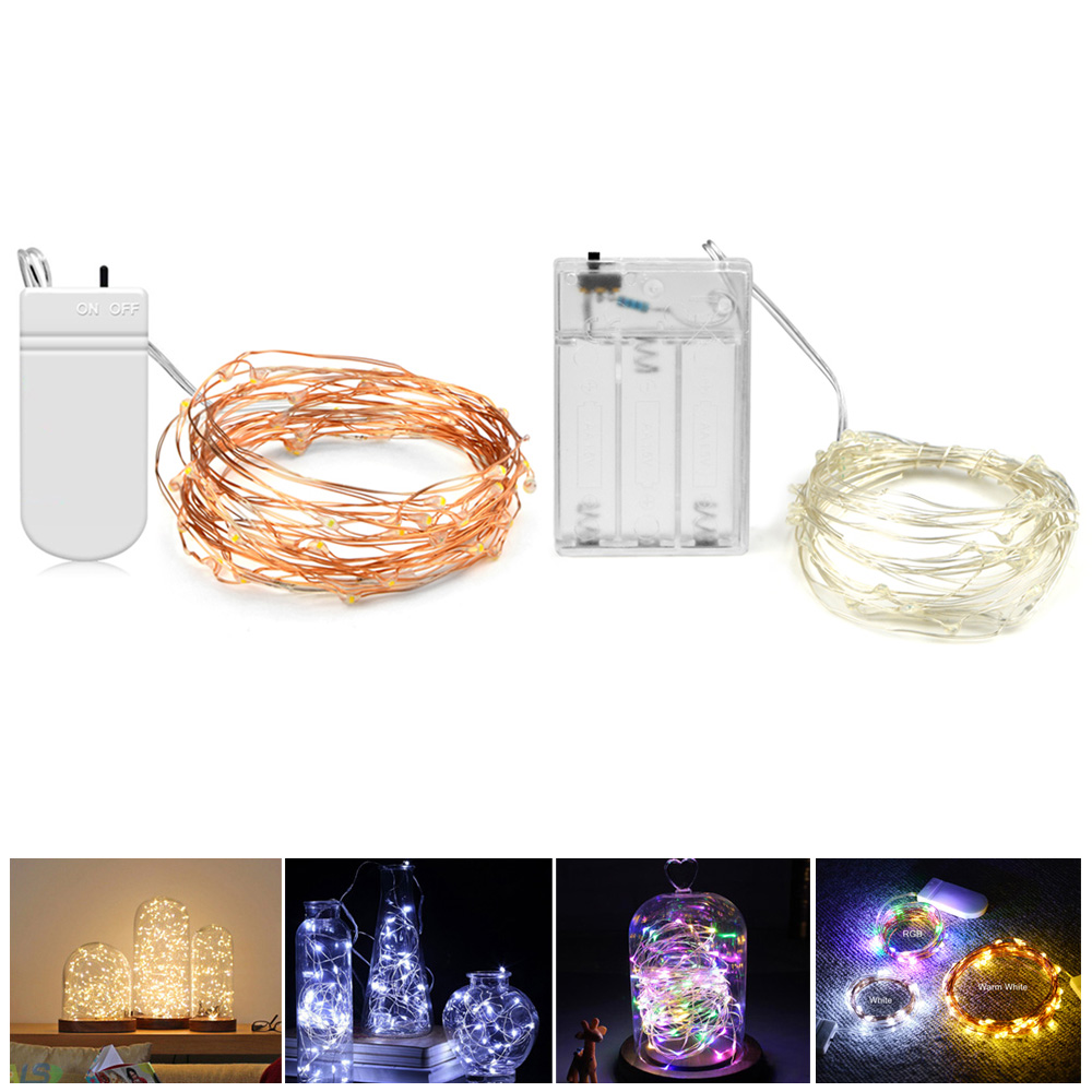 medium resolution of copper wire battery powered led night light rgb led strip light 2m 5m led holiday light string lighting christmas decor lamp