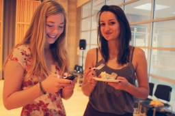 Amelia Rosen, Events Manager (left), laughs with Manon Cooper, Managing Editor
