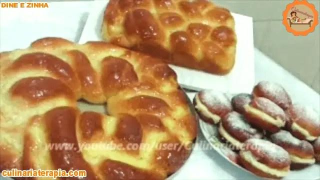 Rosca de pão doce recheada e sonhos