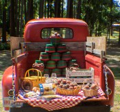 old truck and peaches