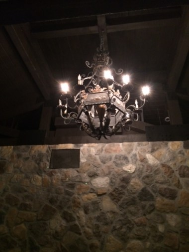Rock Wall with Chandelier